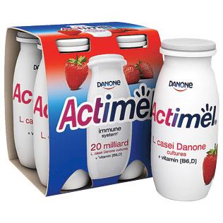 Jogurtinis gėrimas ACTIMEL, vaisinis arba braškių skonio, 4 x 100 g/pak.