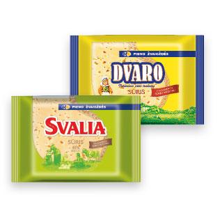 Fermen.sūris DVARO, 50% arba SVALIA, 45% rieb. s.m., 240 g
