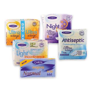 Higieniniams paketams ir tamponams CARIN (įv. rūšių)
