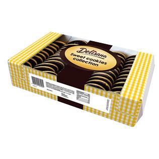 Biskvitiniai sausainiai su  apelsinų skonio įdaru  DELISANA, 800 g/pak.