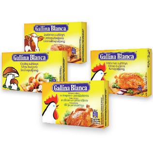 Sultinys GALLINA BLANCA (4 rūšių), 8 vnt./pak., 80 g