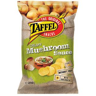 Bulvių traškučiai TAFFEL CREAMY MUSHROOM SAUCE, 210 g